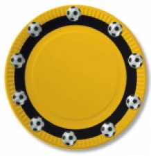 Paper Plate Soccer black / yellow 23 cm